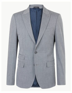 M&S Collection Grey Slim Fit Jacket with Stretch