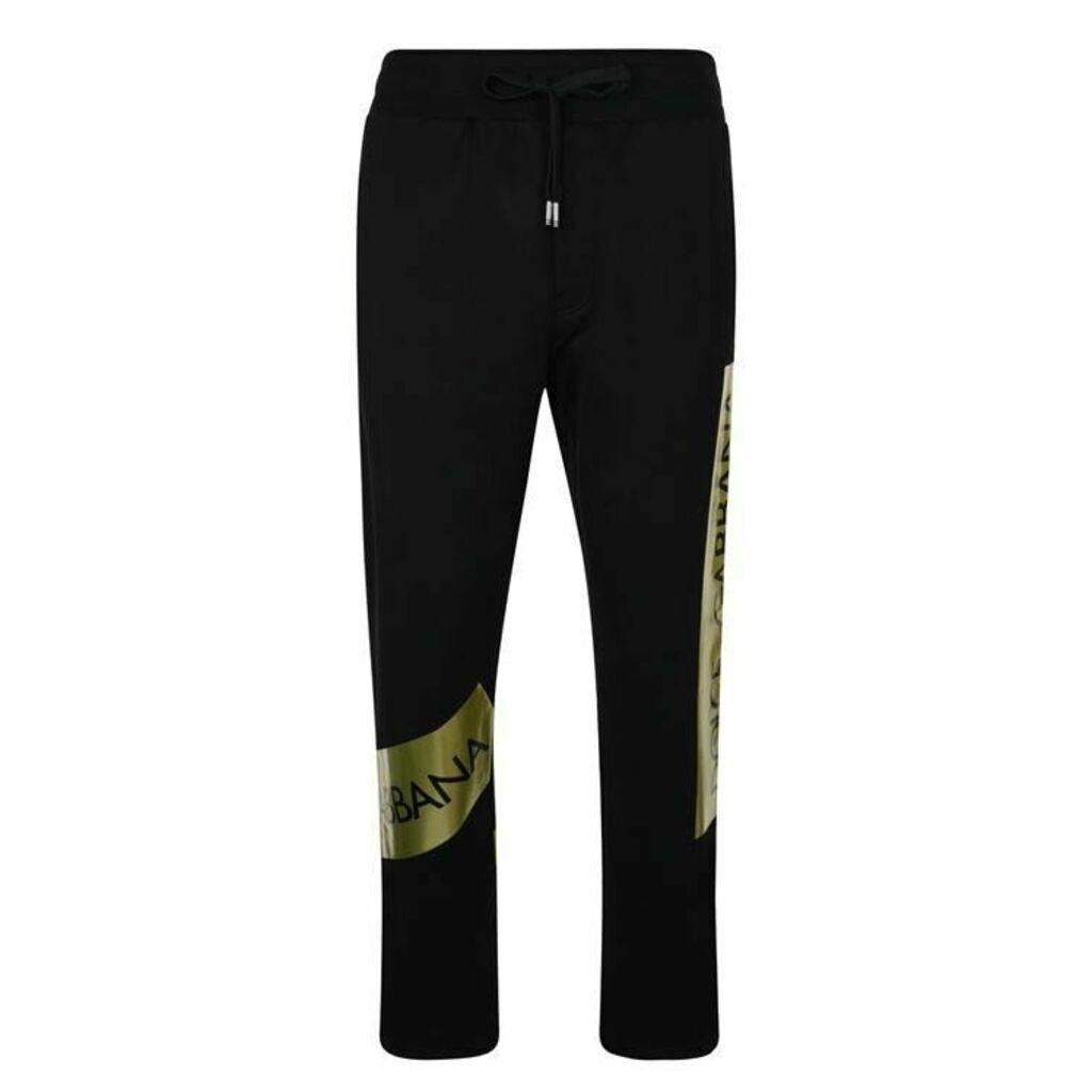 Dolce and Gabbana Metallic Tape Logo Jogging Bottoms
