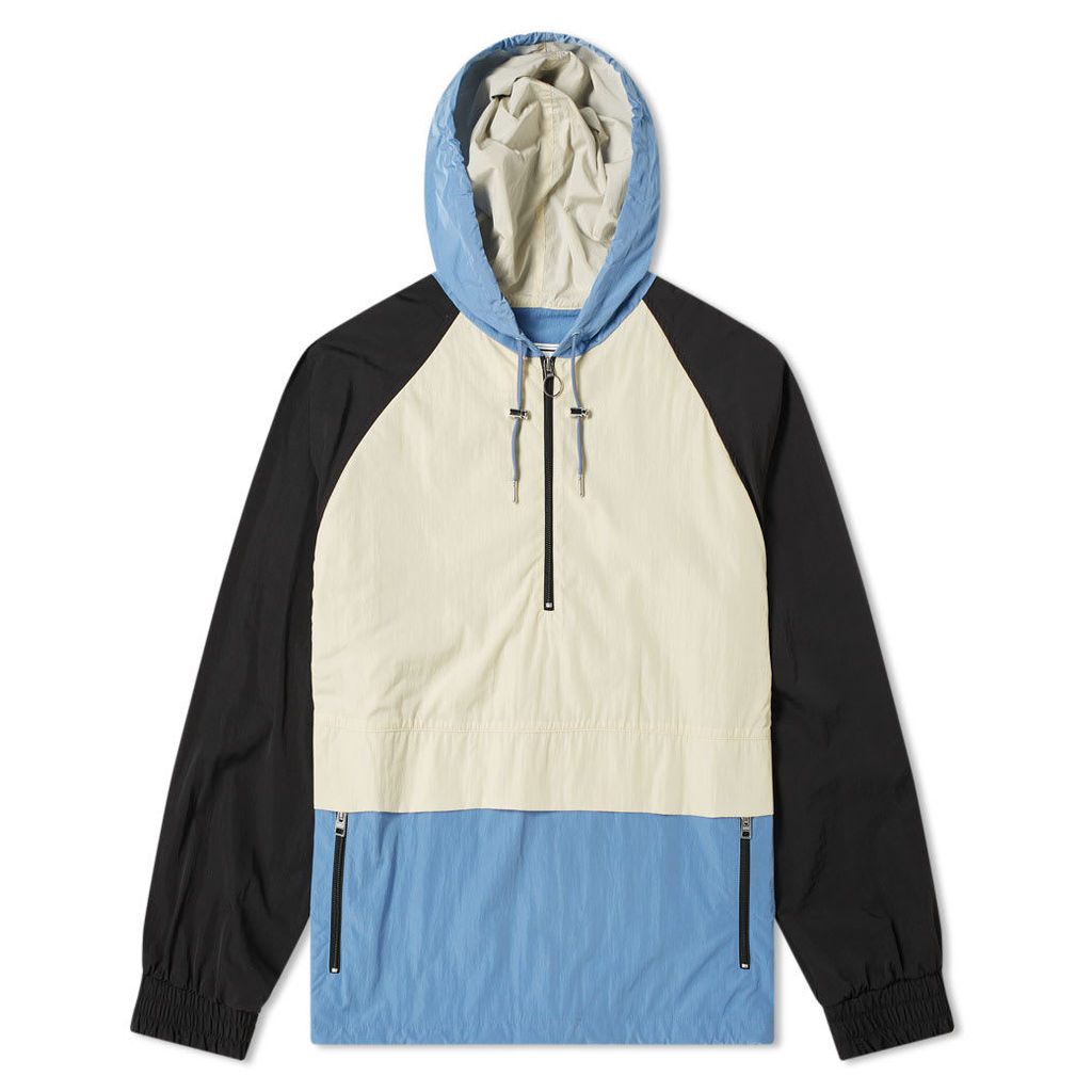 AMI Hooded Colour Block Jacket White & Blue