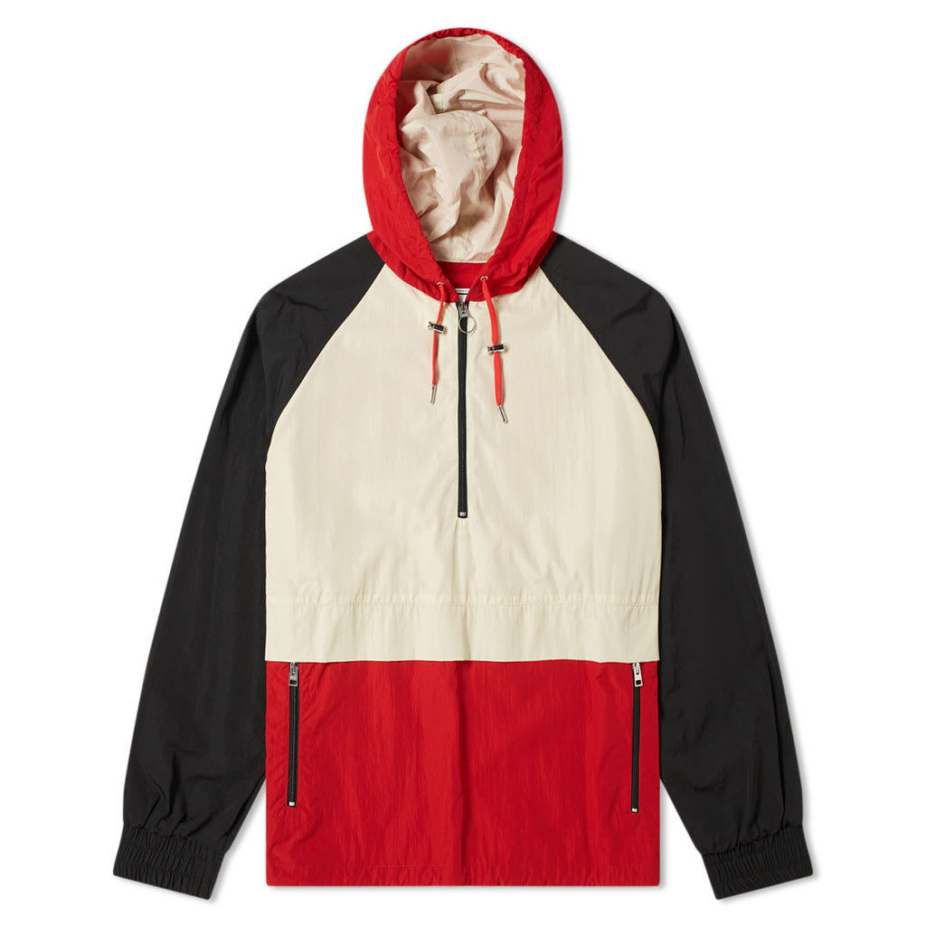 AMI Hooded Colour Block Jacket White & Red
