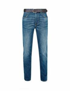 Mens Blue Belted GreencastBlake Slim Fit Jeans, Blue
