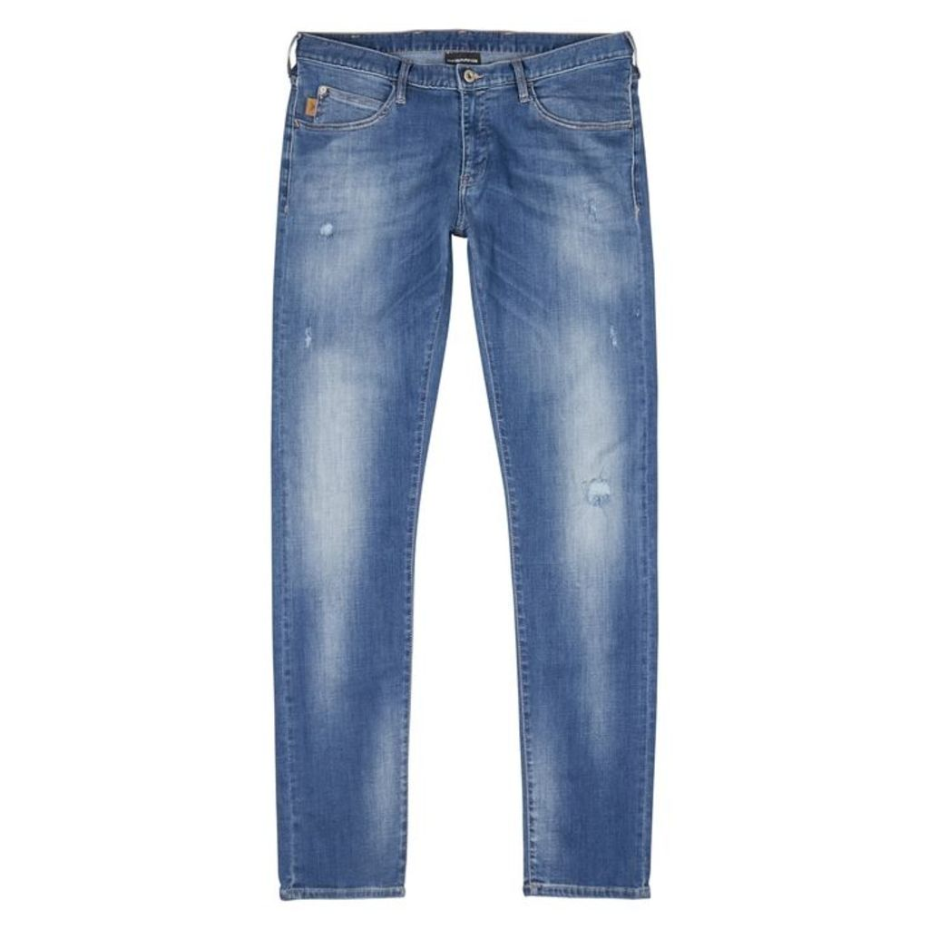 Emporio Armani Blue Distressed Skinny Jeans