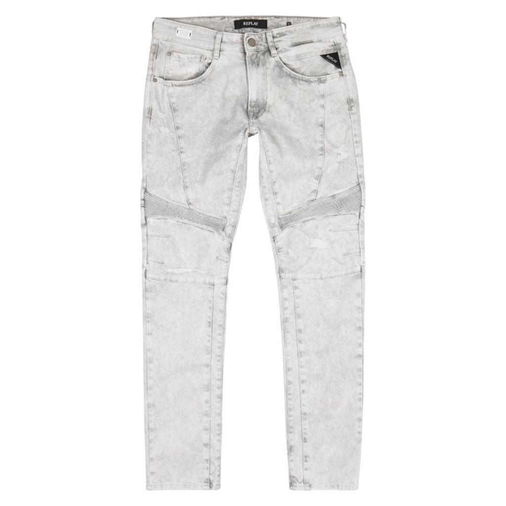 Replay Zaldok Grey Distressed Skinny Jeans