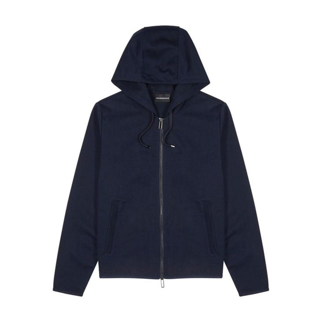Emporio Armani Navy Hooded Jersey Sweatshirt