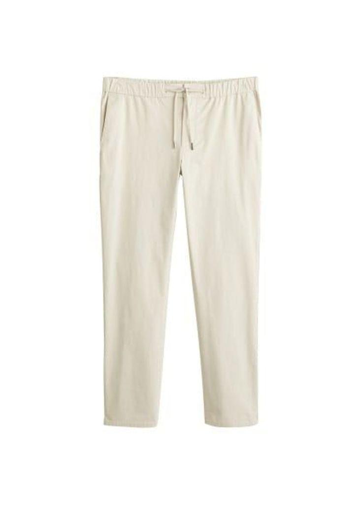 Slim-fit elastic waist trousers