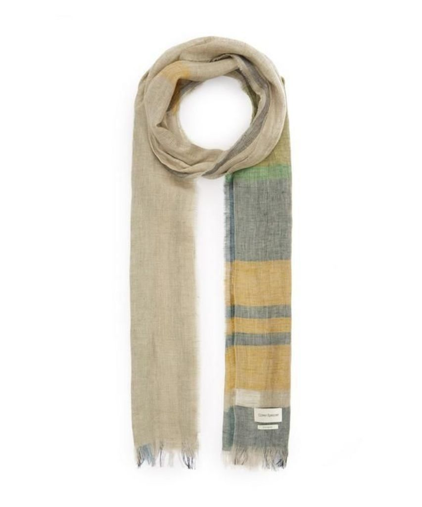 Blown Out Faded Check Linen Scarf