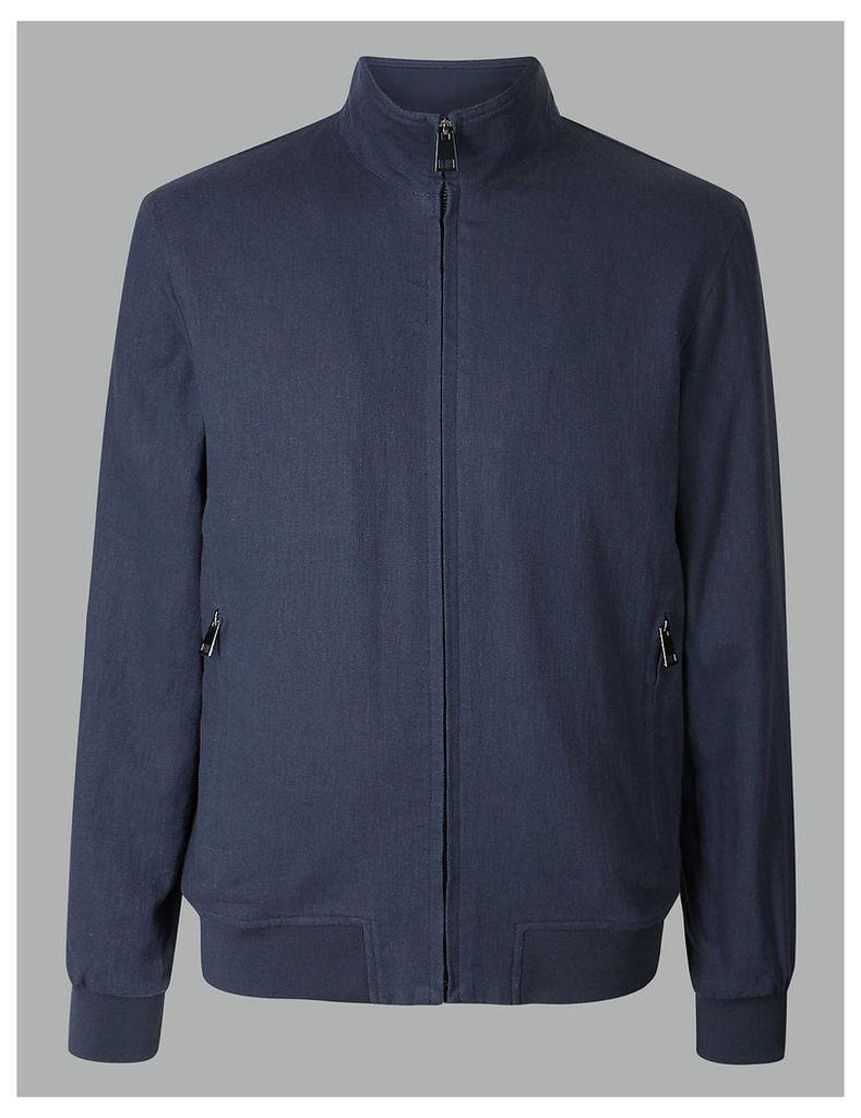 Autograph Linen Blend Bomber Jacket with Stormwear