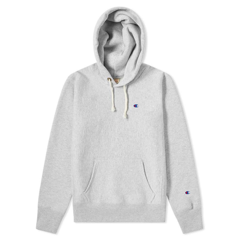 Champion Reverse Weave Hood Script Logo Hoody Grey Marl