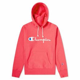 Champion Reverse Weave Script Logo Hoody Fluo Pink