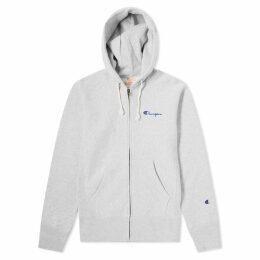 Champion Reverse Weave Script Logo Zip Hoody Grey Marl