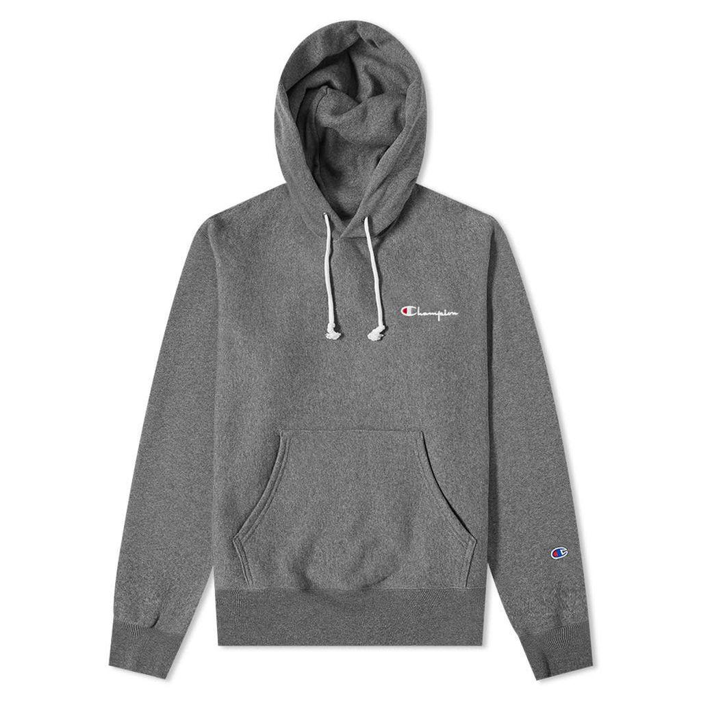 Champion Reverse Weave Small Script Logo Hoody Dark Grey Marl