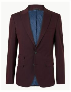 M&S Collection Burgundy Slim Fit Jacket with Stretch