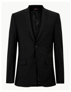 M&S Collection Luxury Black Slim Fit Wool Jacket