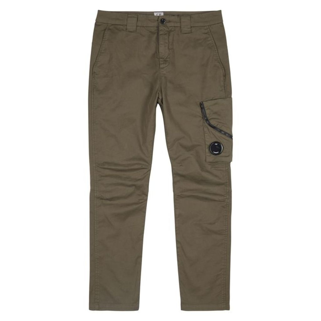 C.P. Company Army Green Stretch-cotton Cargo Trousers
