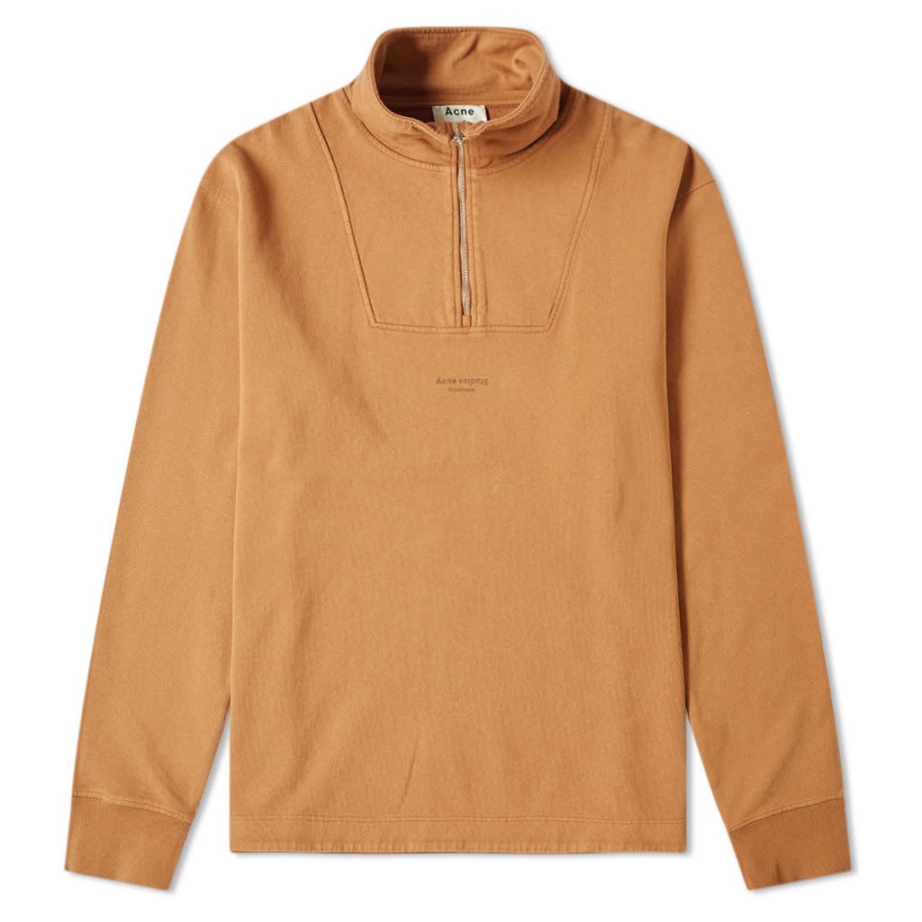 Acne Studios Faraz Stamp Quarter Zip Sweat Antique Brown