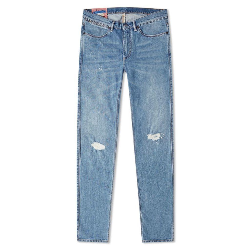 Acne Studios Max Mid Ripped Slim Fit Jean Indigo