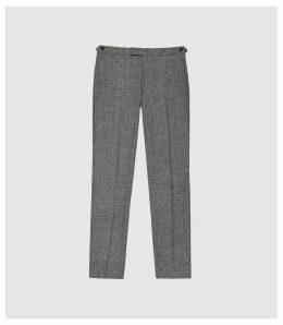 Reiss Ruck - Linen Wool Blend Slim Fit Trousers in Grey, Mens, Size 38