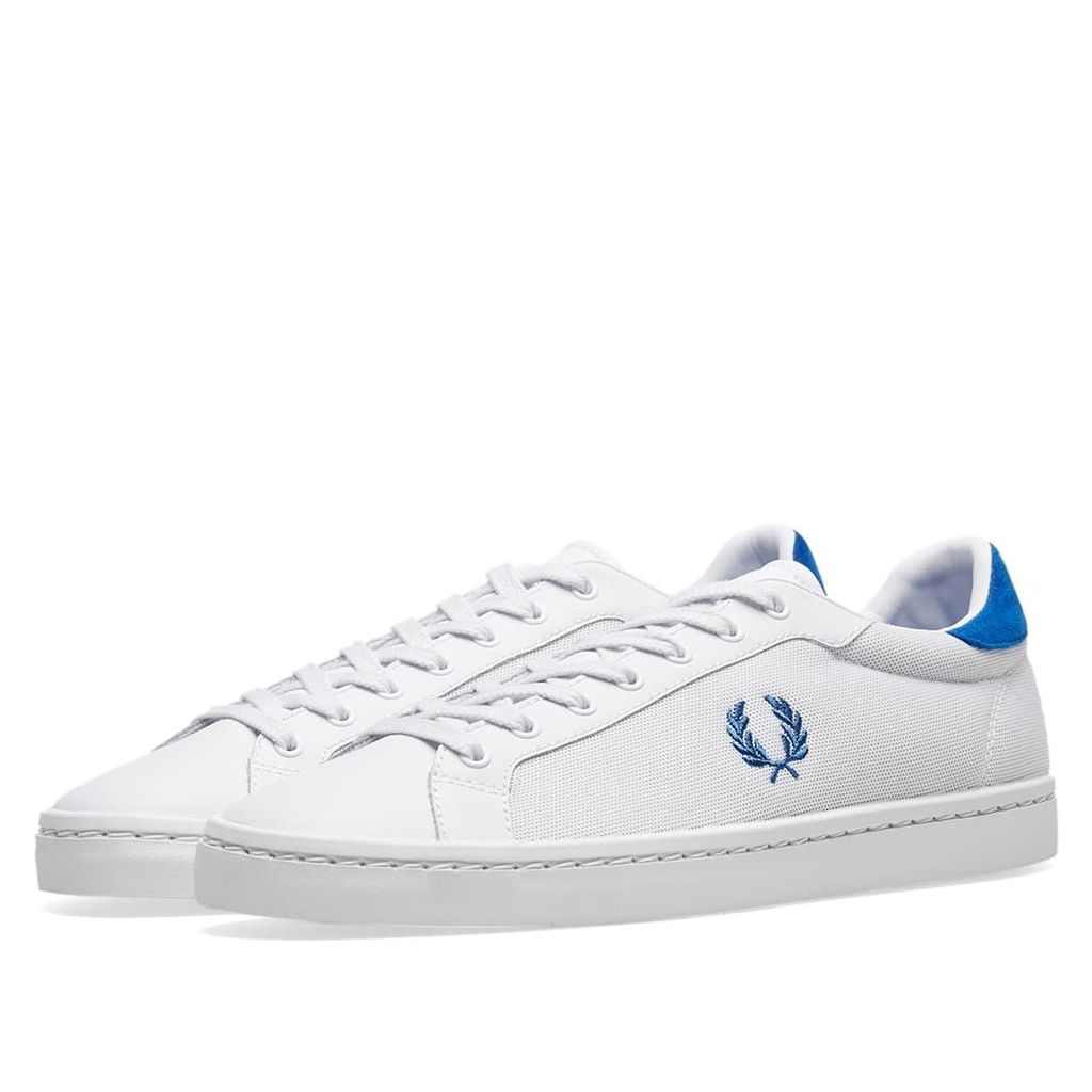 Fred Perry Lawn Leather Mesh Sneaker White & Blue