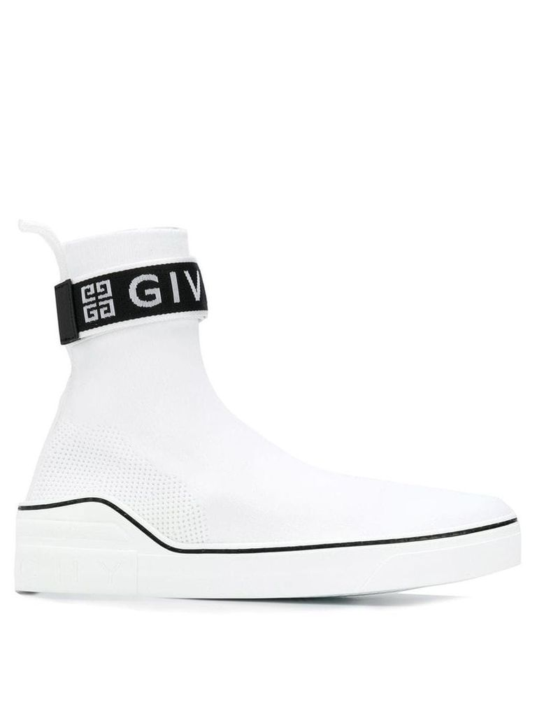 Givenchy logo high top trainers - White