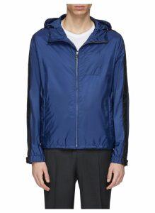 Stripe sleeve hooded windbreaker jacket