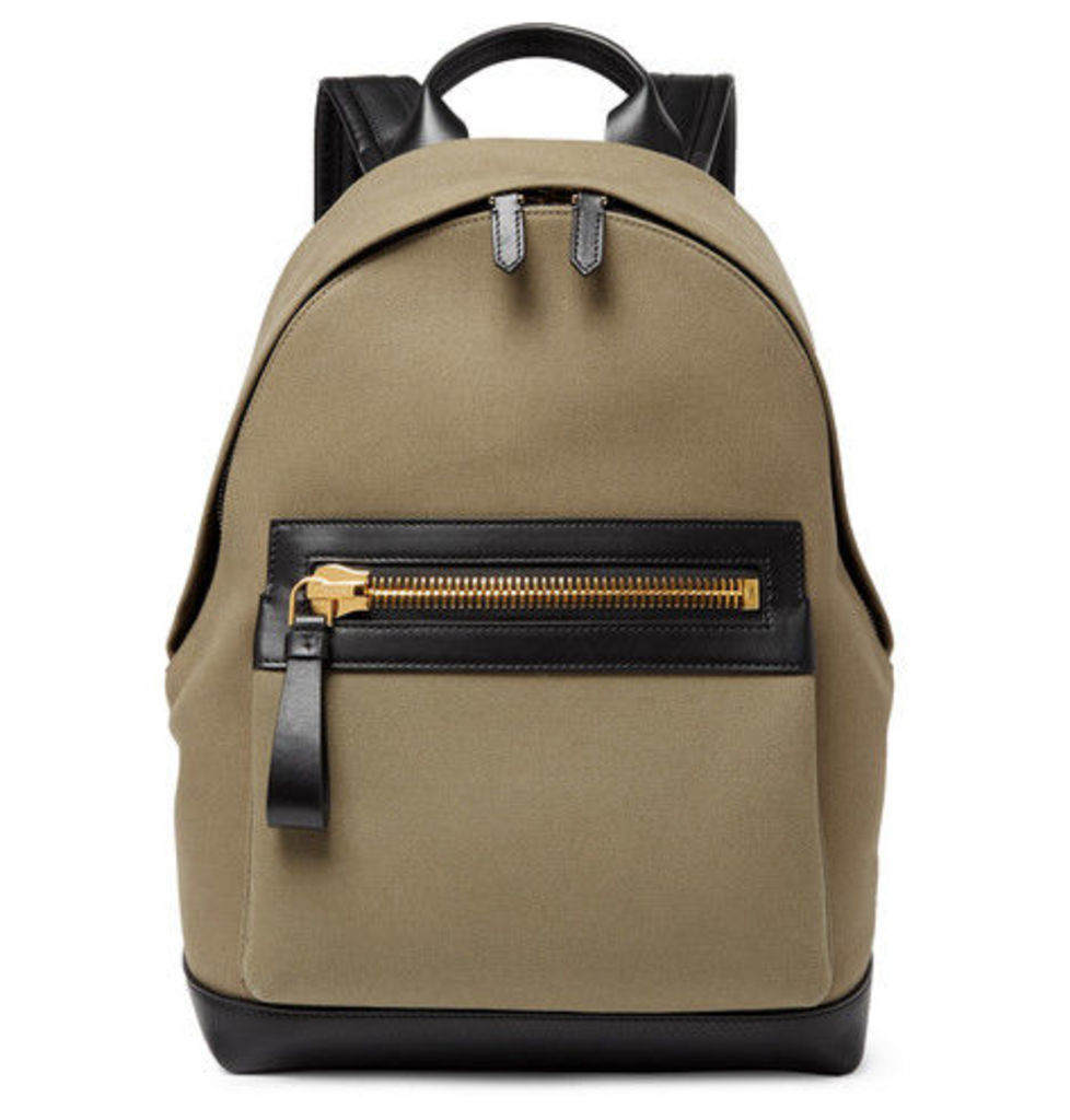 TOM FORD - Canvas And Leather Backpack - Green