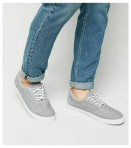 Grey Canvas Lace Up Plimsolls New Look