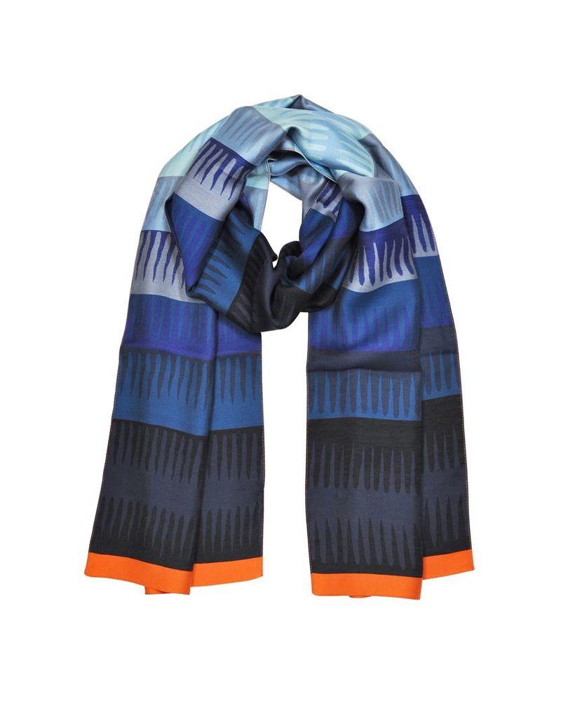 Paul Smith Designer Men's Scarves, Wobble Stripe Viscose and Silk Men's Scarf