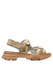 Gucci brown aguru leather and mesh hiking sandals