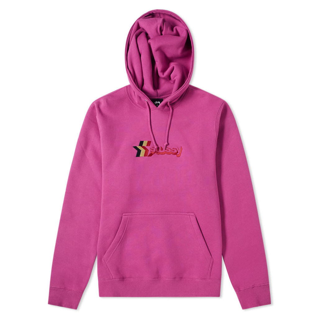 Stussy 3 Star Applique Hoody Berry