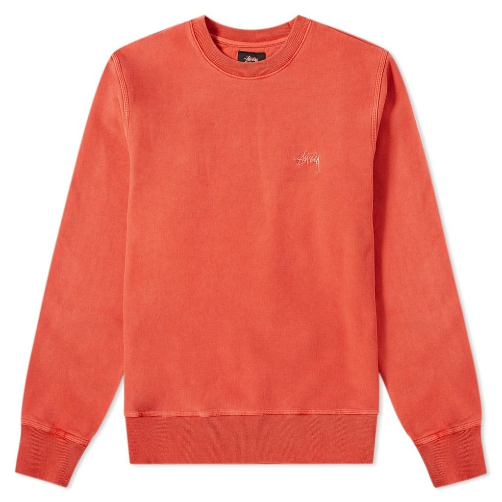 Stussy Stock Logo Crew Sweat Red
