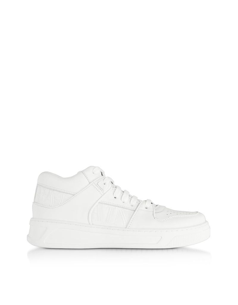 Balmain Designer Shoes, Optic White Kane Leather Low Top Sneakers