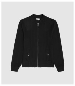 Reiss Charlie - Jersey Zip Through Bomber in Black, Mens, Size XXL