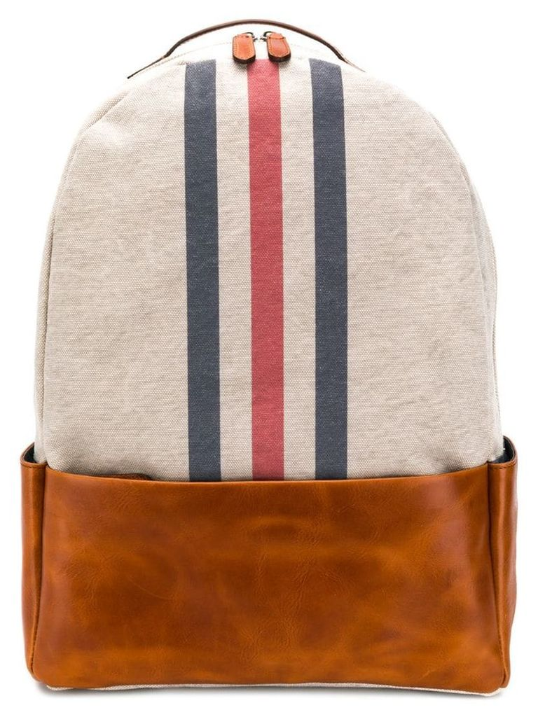 Eleventy stripe front backpack - Neutrals