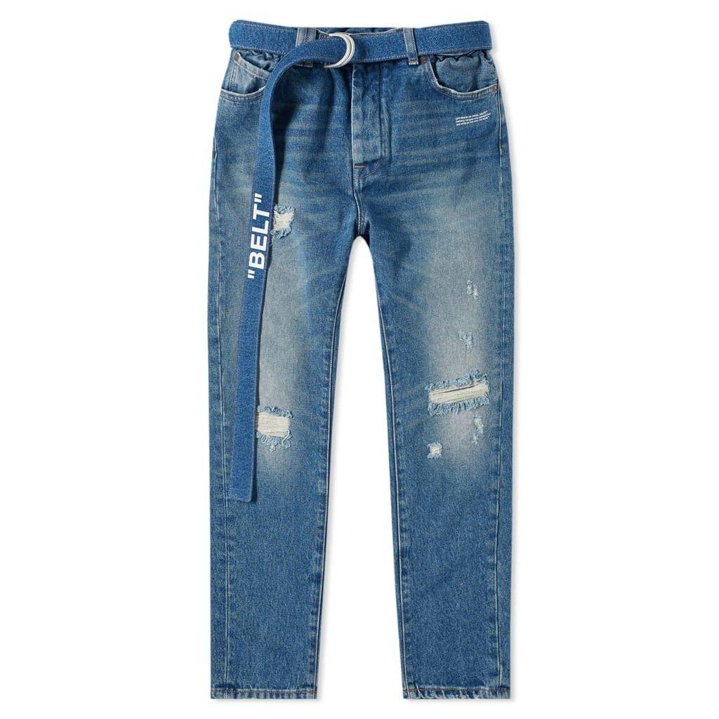 Off-White Slim Low Crotch Jean Vintage Damaged