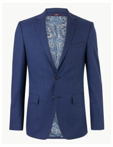 M&S Collection Luxury Blue Textured Slim Fit Wool Jacket