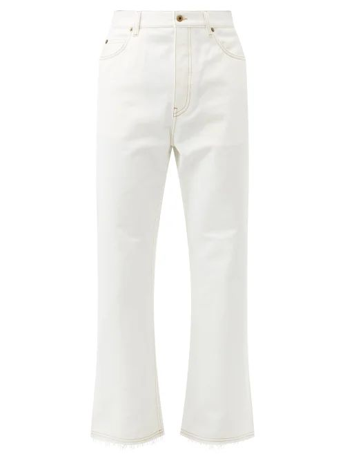 Lemaire - Mid Rise Cotton Twill Chino Trousers - Mens - Light Grey