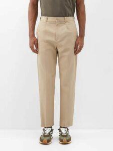 Burberry - Leopard Print Straight Leg Cotton Trousers - Mens - Brown