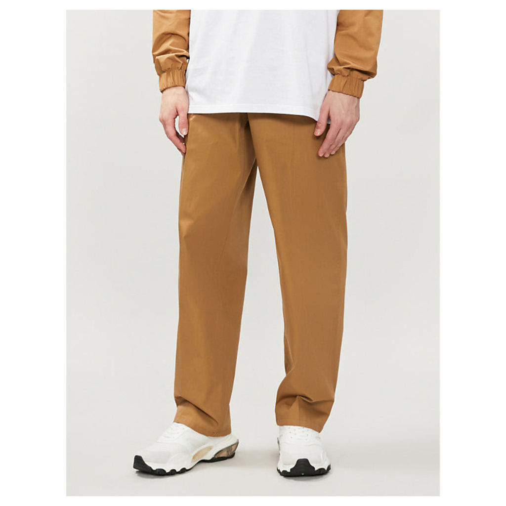 Belted cotton-twill trousers