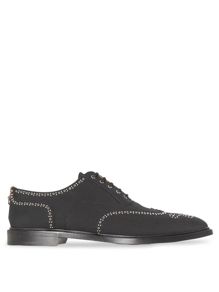 Burberry Studded Mohair Wool Brogues - Black