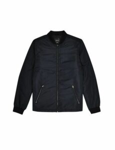 Mens Black Padded Bomber Jacket, Black