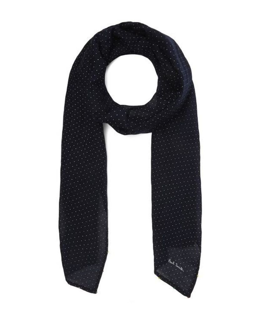 Knotted Pin Dot Silk-Blend Scarf