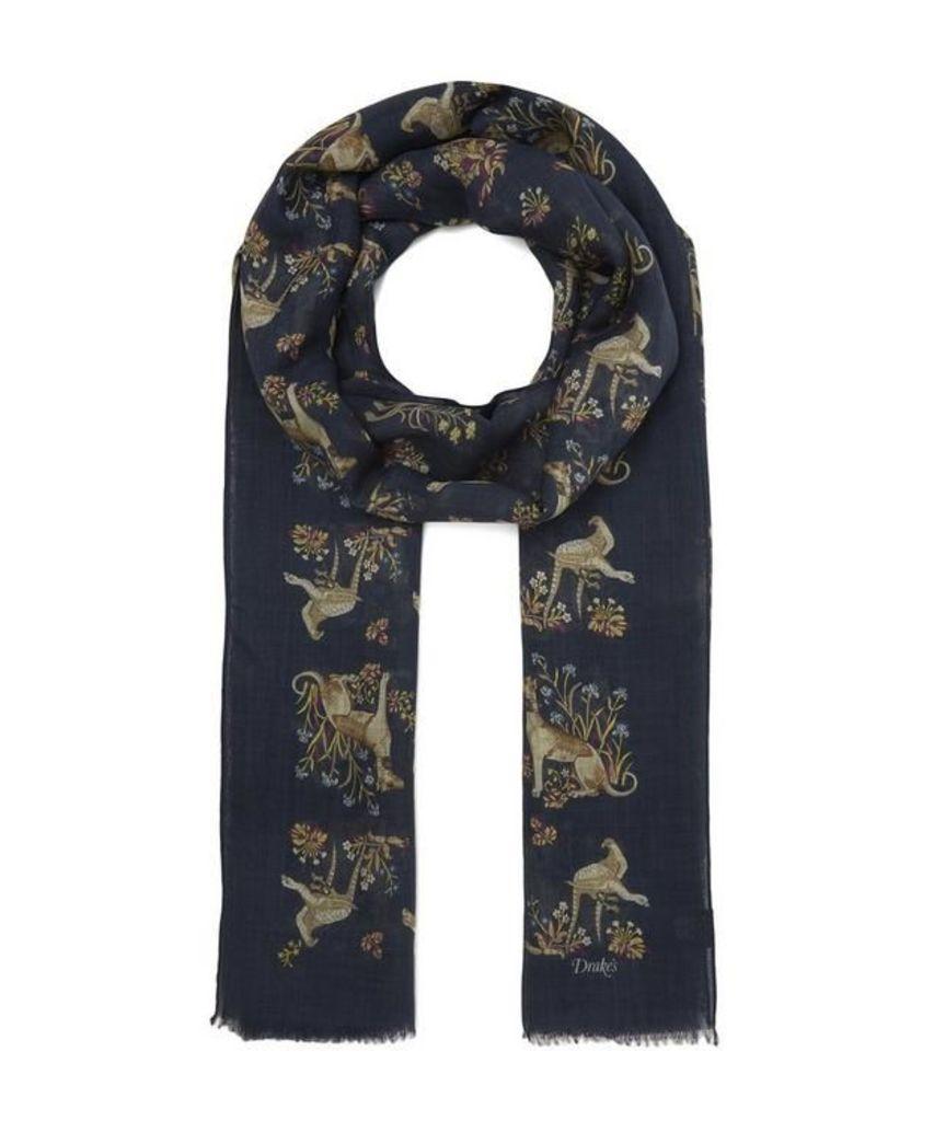 Dog Print Wool-Silk Scarf
