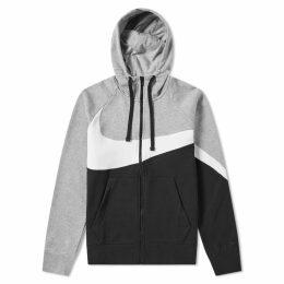 Nike Big Swoosh Zip Hoody Grey Heather, White & Black