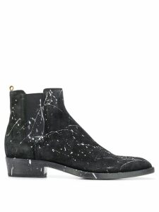 Buttero paint splatter ankle boots - Black
