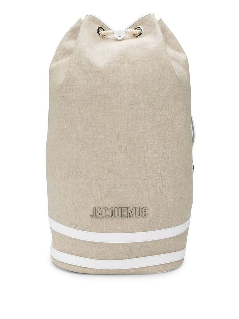 Jacquemus large drawstring backpack - Neutrals