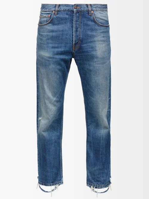 White Sand - Belted Stretch Cotton Twill Trousers - Mens - Dark Green