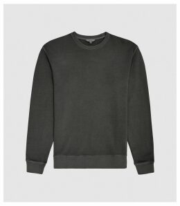 Reiss Tyne - Garment Dyed Sweatshirt in Black, Mens, Size XXL