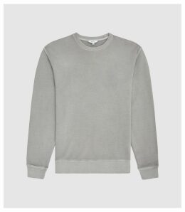 Reiss Tyne - Garment Dyed Sweatshirt in Grey, Mens, Size XXL