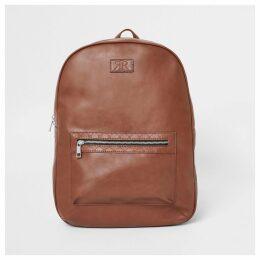 Mens River Island Light Brown RI monogram trim rucksack