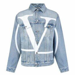 Valentino Denim Blouson Maxi Vlogo Jacket